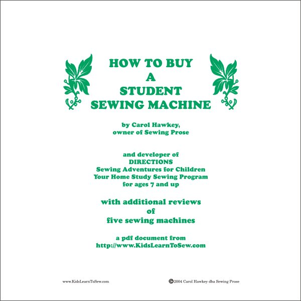 How to Buy a Children's Sewing Machine Ebook